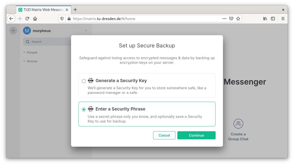 Prompt to generate the security key or enter a security phrase