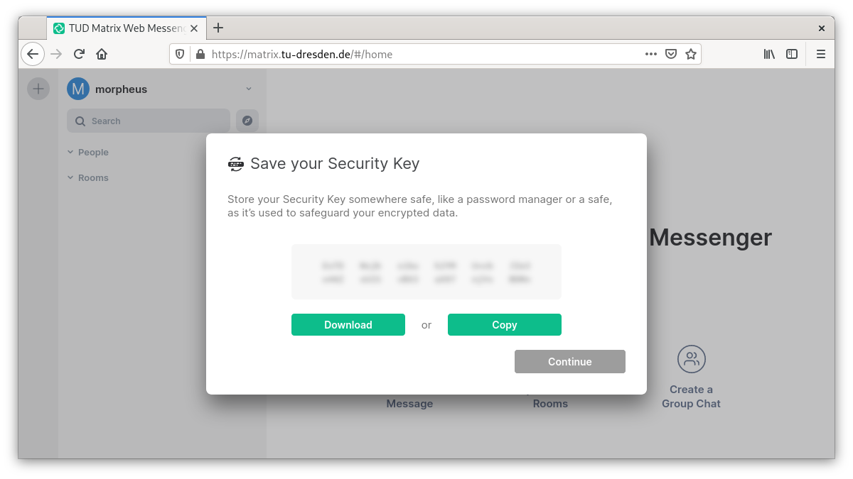 Display of the security key to write or save away